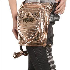 Super versatile Victorian steampunk rose gold bag